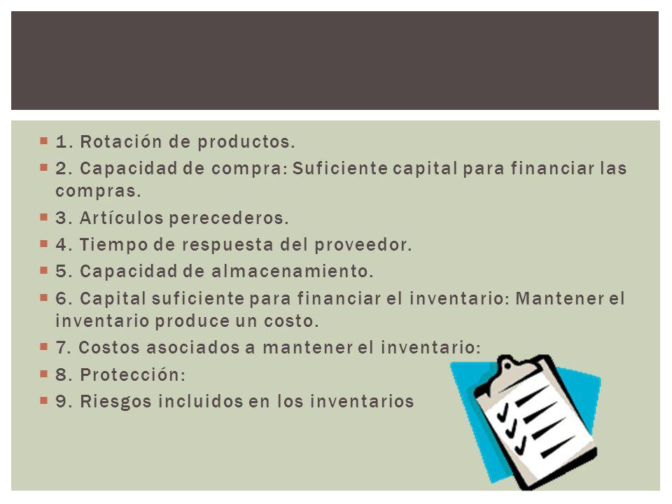 1. Rotación de productos. 2. Capacidad de compra: Suficiente capital para financiar las compras. 3. Artículos perecederos.