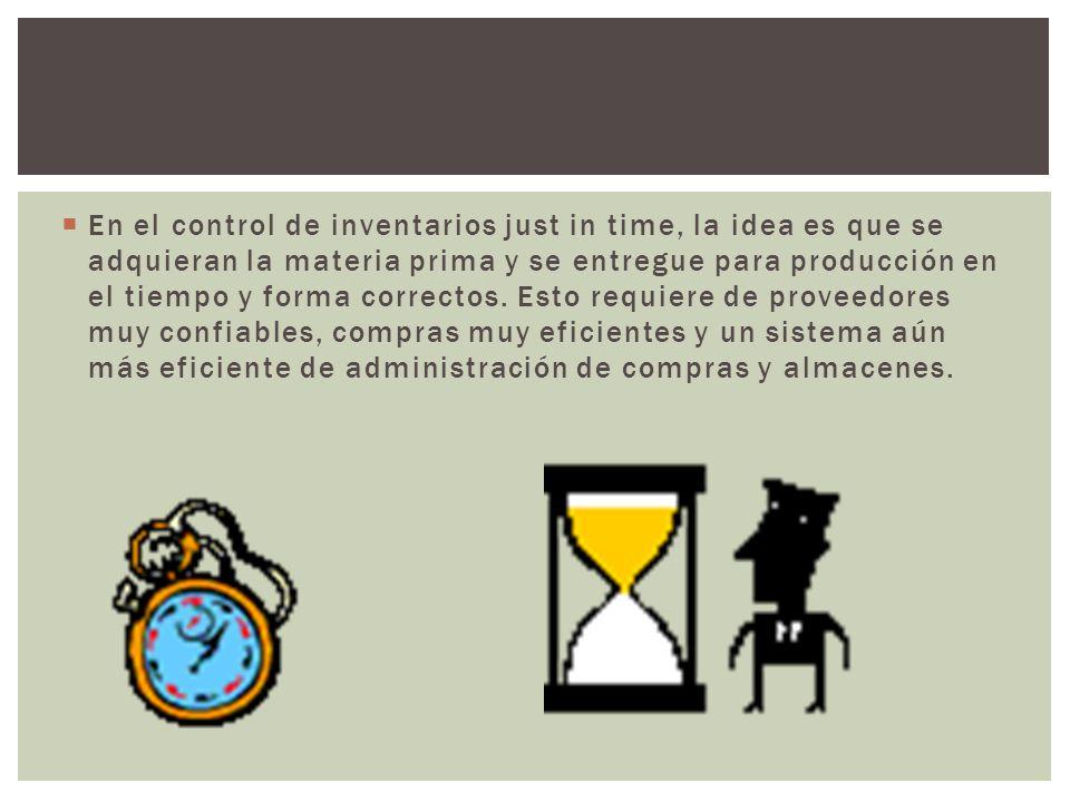 En el control de inventarios just in time, la idea es que se adquieran la materia prima y se entregue para producción en el tiempo y forma correctos.