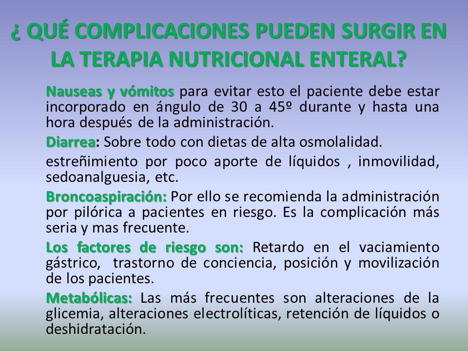 ¿ QUÉ COMPLICACIONES PUEDEN SURGIR EN LA TERAPIA NUTRICIONAL ENTERAL