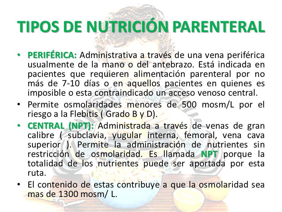 TIPOS DE NUTRICIÓN PARENTERAL