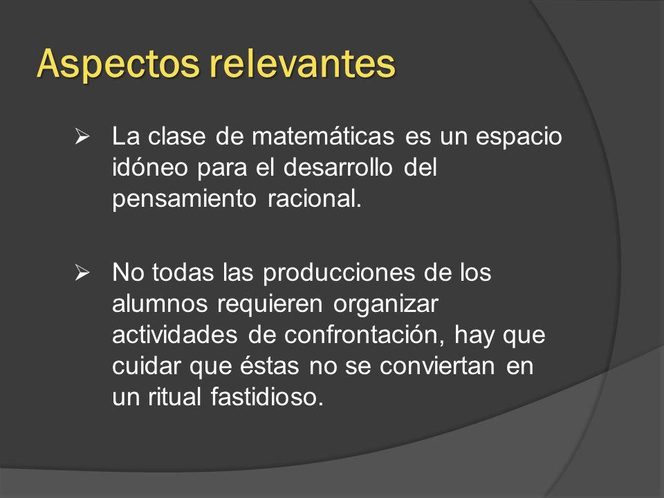 Aspectos relevantes La clase de matemáticas es un espacio idóneo para el desarrollo del pensamiento racional.