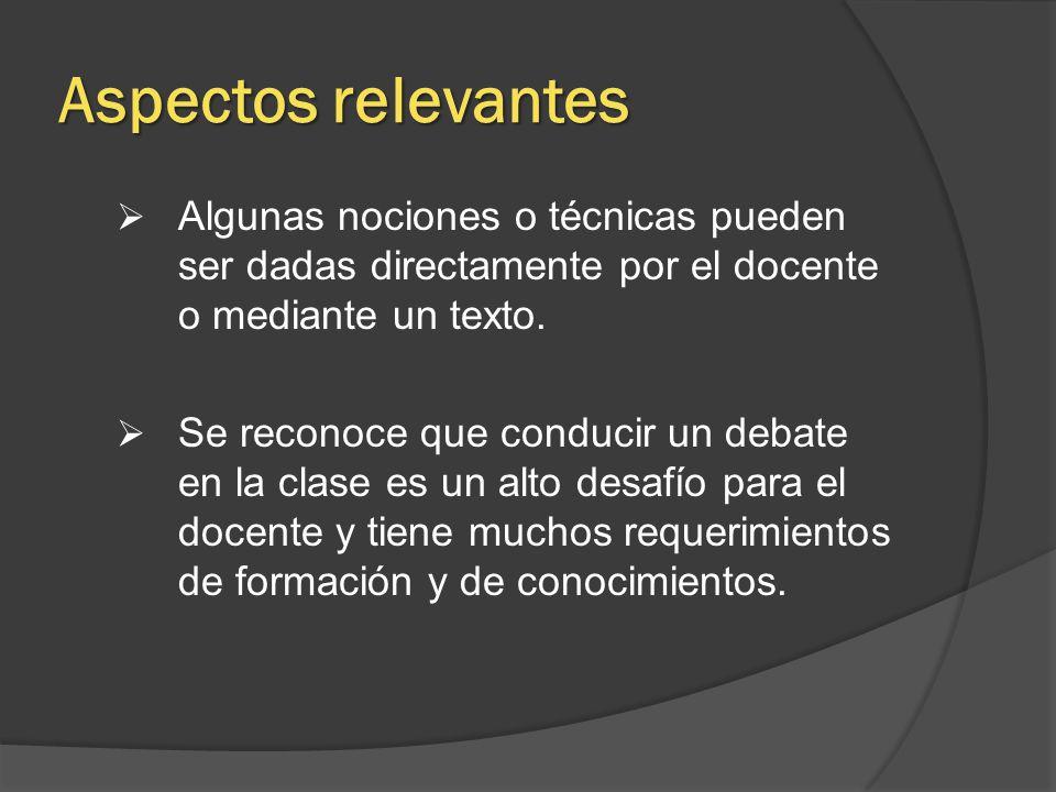 Aspectos relevantes Algunas nociones o técnicas pueden ser dadas directamente por el docente o mediante un texto.