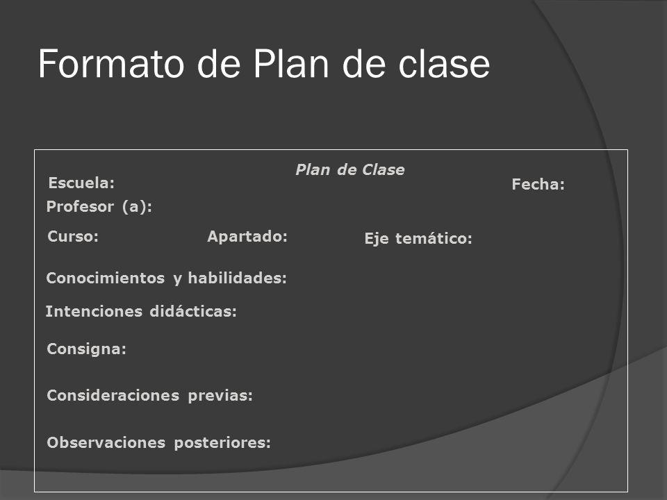 Formato de Plan de clase
