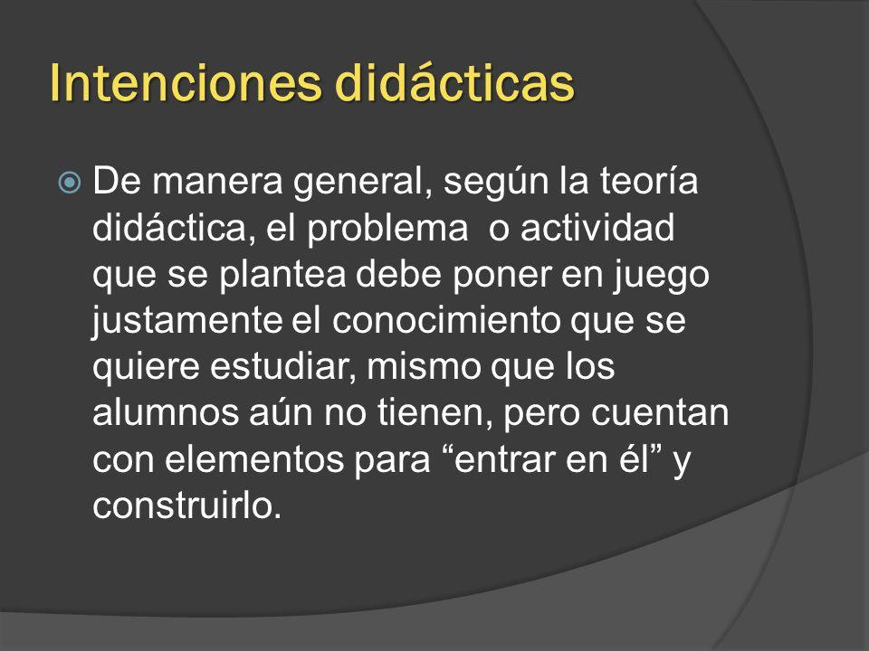 Intenciones didácticas