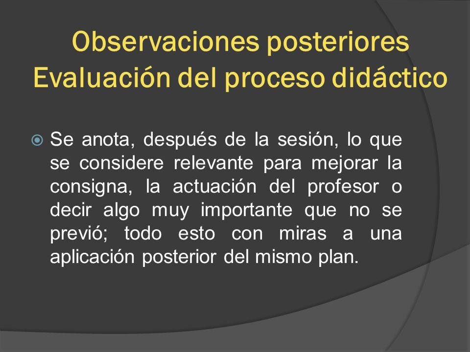 Observaciones posteriores Evaluación del proceso didáctico