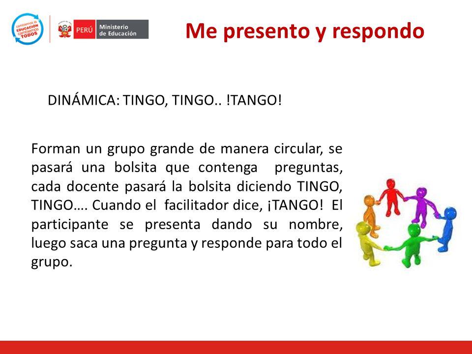 Me presento y respondo DINÁMICA: TINGO, TINGO.. !TANGO!