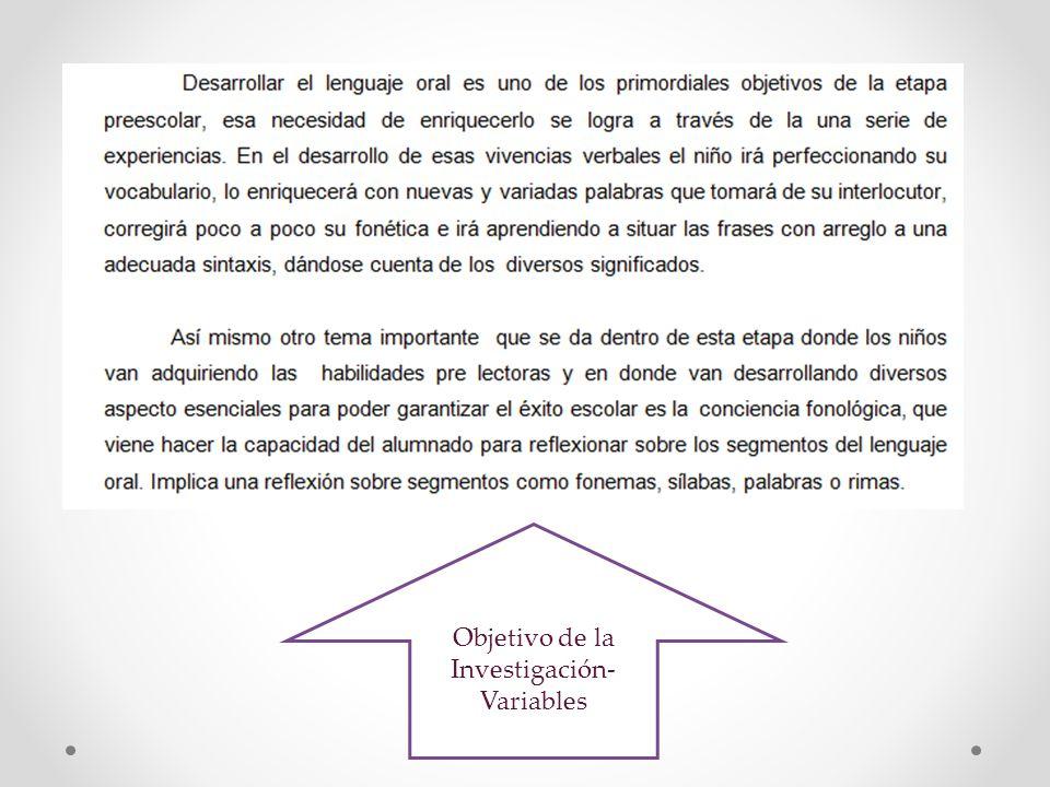Objetivo de la Investigación- Variables