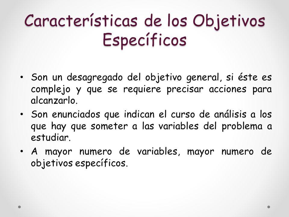 Características de los Objetivos Específicos