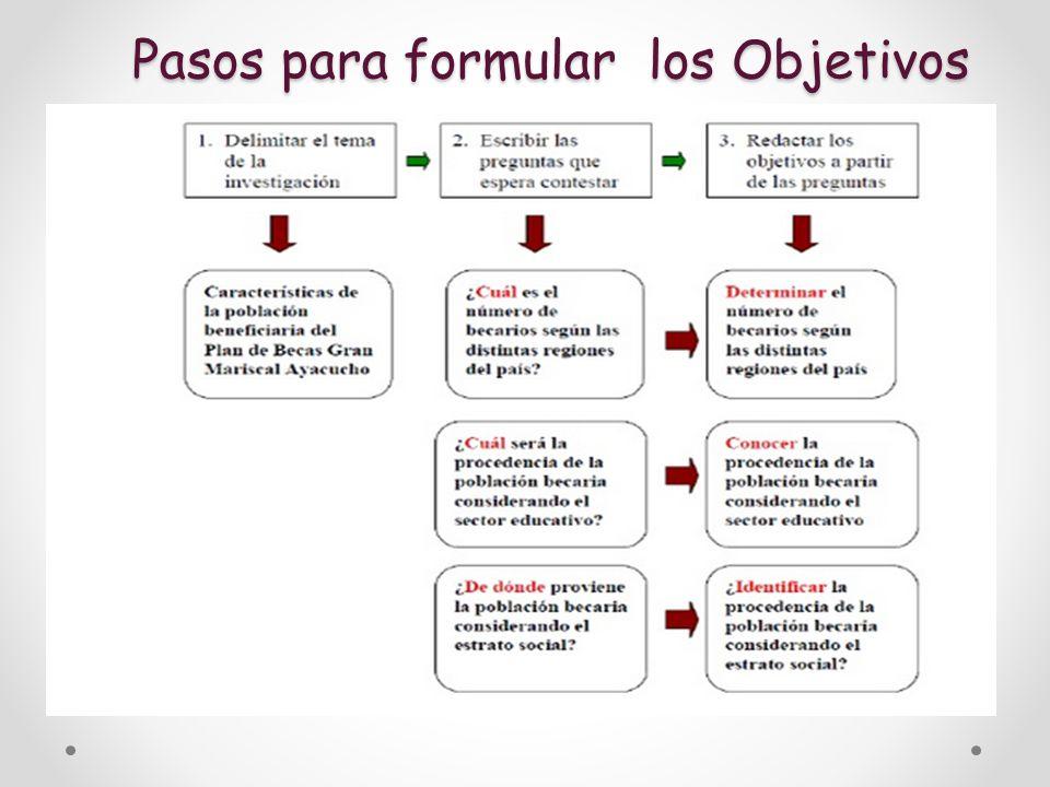 Pasos para formular los Objetivos