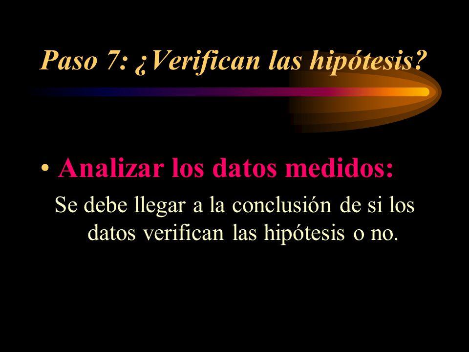 Paso 7: ¿Verifican las hipótesis