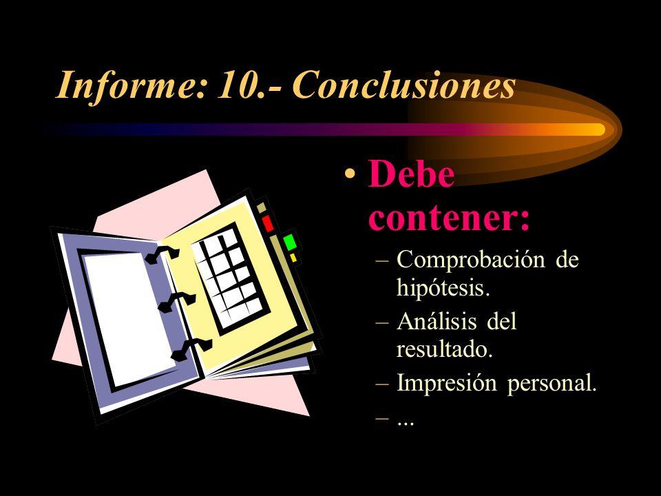 Informe: 10.- Conclusiones
