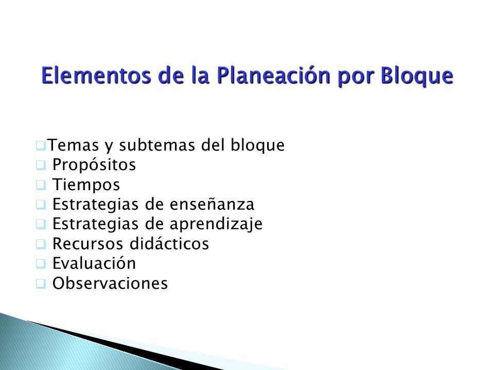 Elementos de la Planeación por Bloque