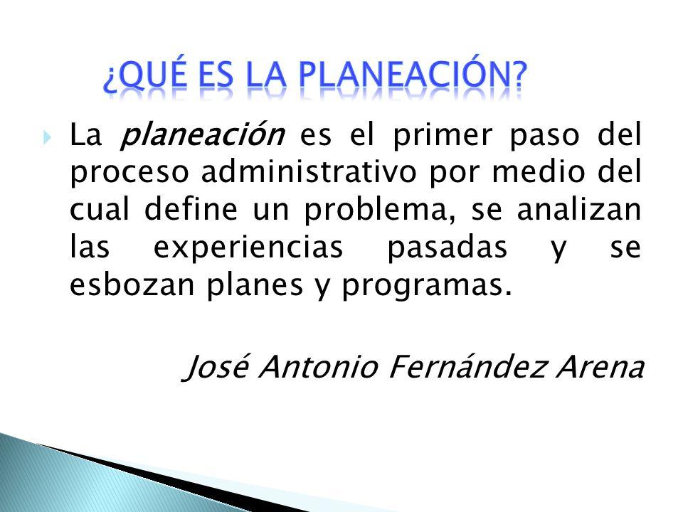 La planeación es el primer paso del proceso administrativo por medio del cual define un problema, se analizan las experiencias pasadas y se esbozan planes y programas.