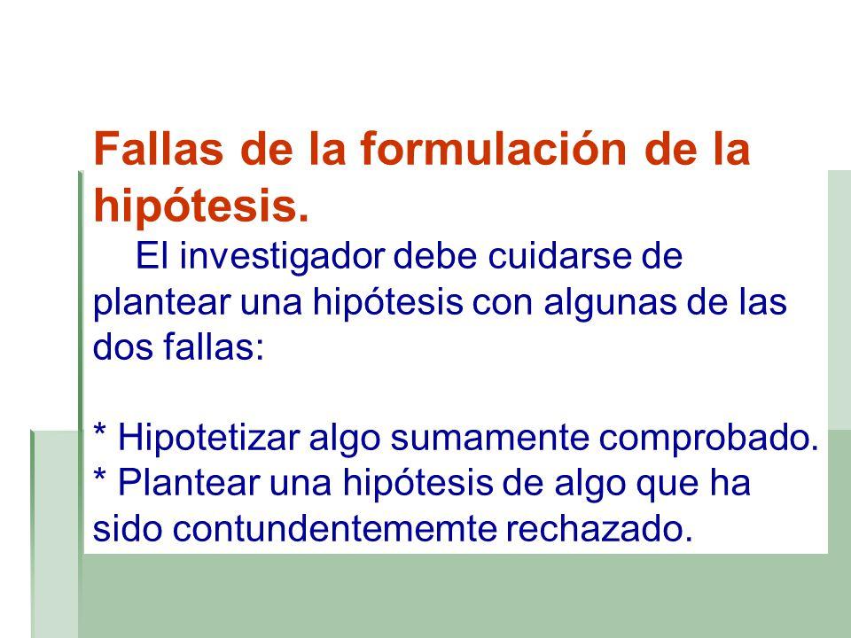 Fallas de la formulación de la hipótesis.