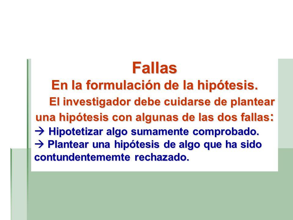 En la formulación de la hipótesis.