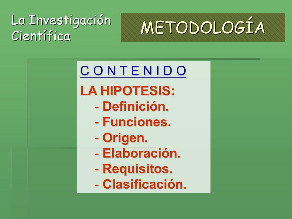 METODOLOGÍA La Investigación Científica C O N T E N I D O