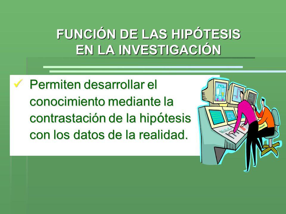 FUNCIÓN DE LAS HIPÓTESIS EN LA INVESTIGACIÓN