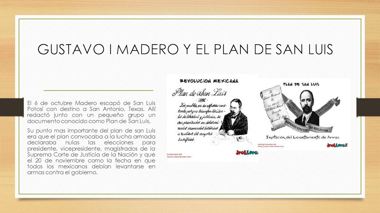 GUSTAVO I MADERO Y EL PLAN DE SAN LUIS