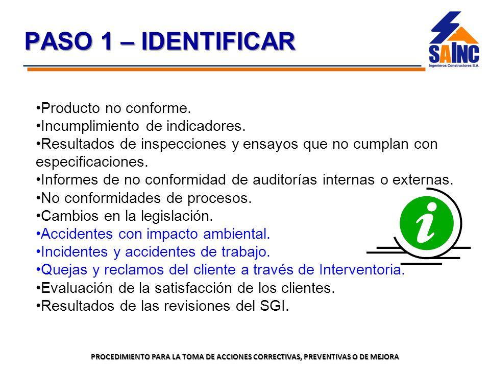 PASO 1 – IDENTIFICAR Producto no conforme.