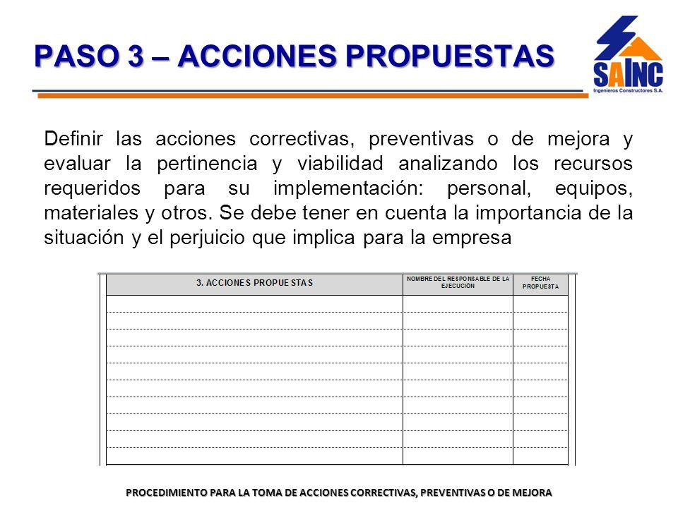 PASO 3 – ACCIONES PROPUESTAS