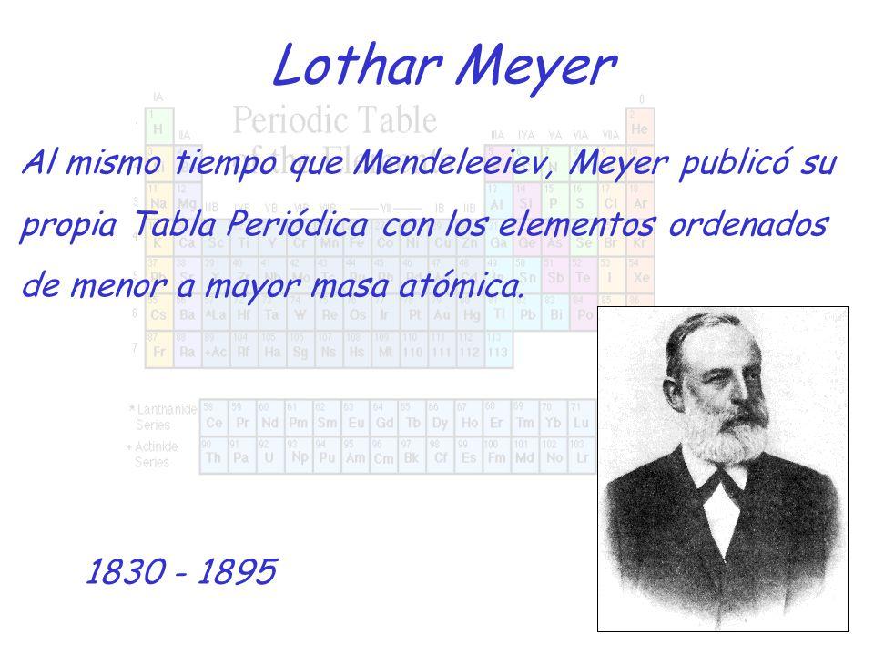 7 lothar meyer al mismo tiempo que mendeleeiev meyer public su propia tabla peridica con los elementos ordenados de menor a mayor masa atmica - Tabla Periodica De Los Elementos Masa Atomica