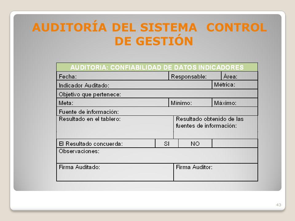 AUDITORÍA DEL SISTEMA CONTROL DE GESTIÓN