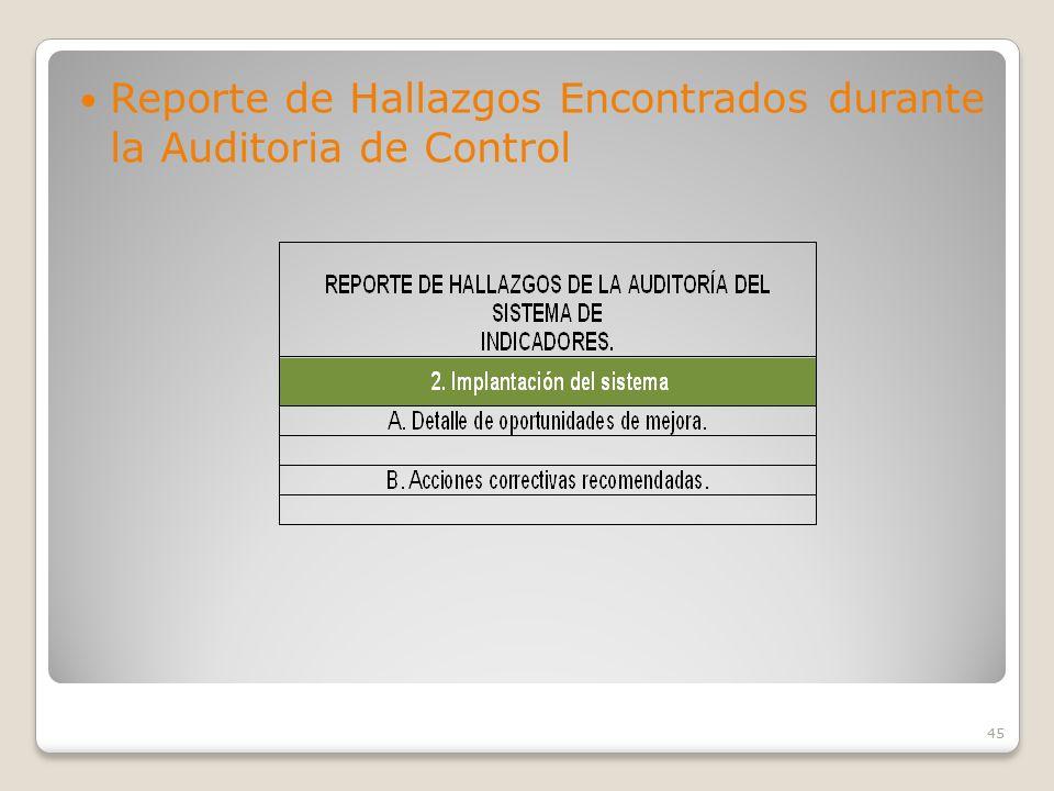 Reporte de Hallazgos Encontrados durante la Auditoria de Control
