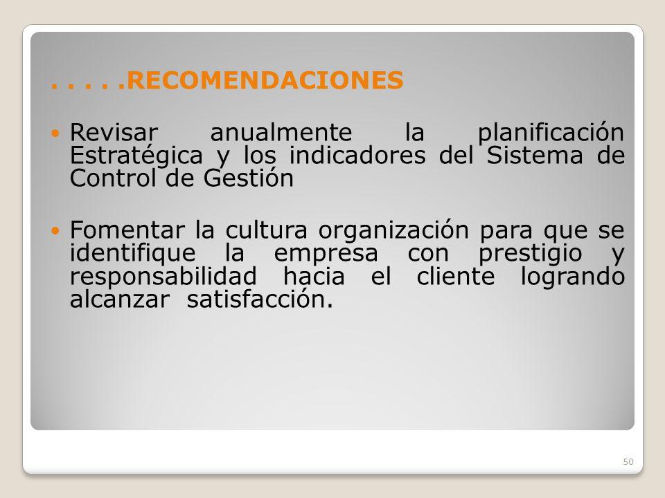 . . . . .RECOMENDACIONES Revisar anualmente la planificación Estratégica y los indicadores del Sistema de Control de Gestión.