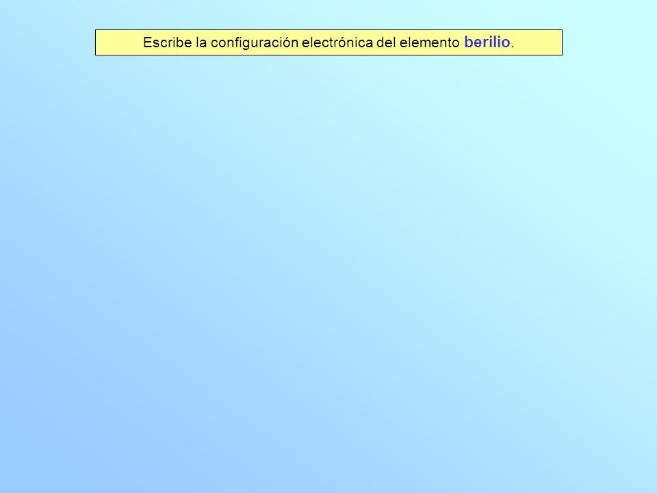 Escribe la configuración electrónica del elemento berilio.