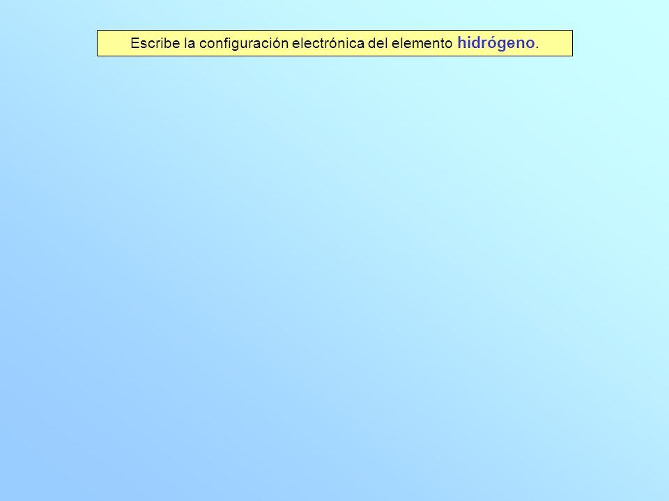 Escribe la configuración electrónica del elemento hidrógeno.