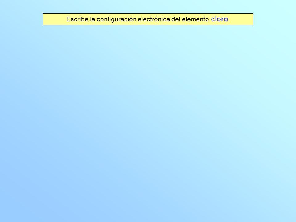 Escribe la configuración electrónica del elemento cloro.