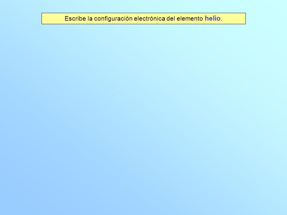 Escribe la configuración electrónica del elemento helio.