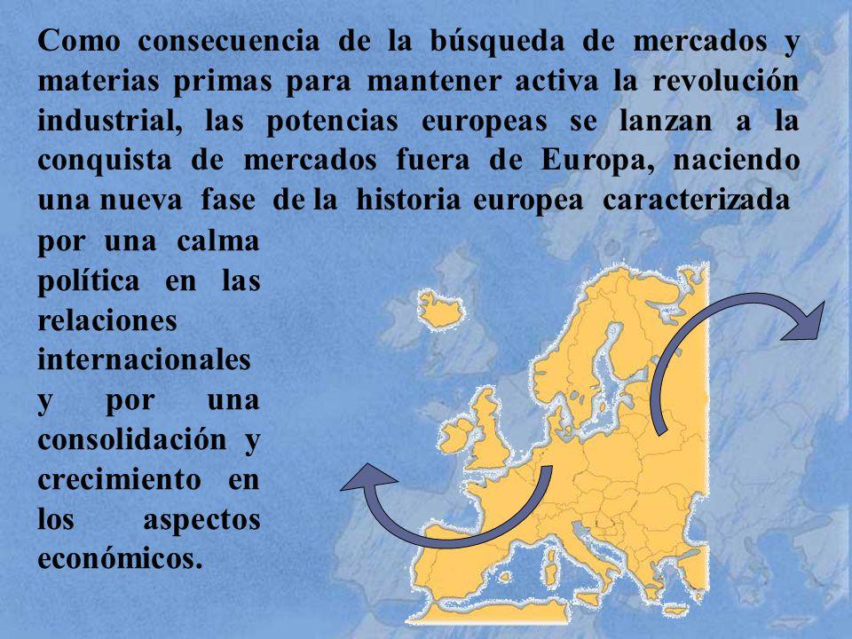 Como consecuencia de la búsqueda de mercados y materias primas para mantener activa la revolución industrial, las potencias europeas se lanzan a la conquista de mercados fuera de Europa, naciendo una nueva fase de la historia europea caracterizada