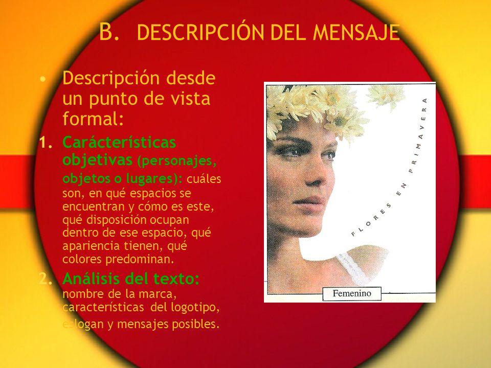 B. DESCRIPCIÓN DEL MENSAJE
