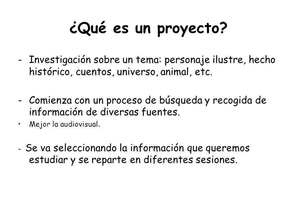 ¿Qué es un proyecto Investigación sobre un tema: personaje ilustre, hecho histórico, cuentos, universo, animal, etc.