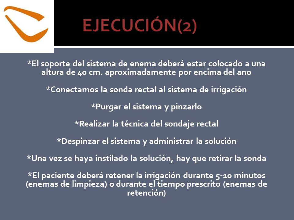 EJECUCIÓN(2) *El soporte del sistema de enema deberá estar colocado a una altura de 40 cm. aproximadamente por encima del ano.