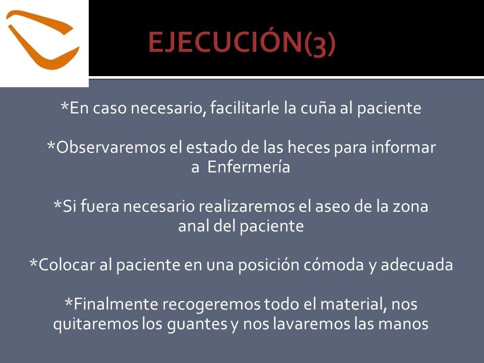 EJECUCIÓN(3) *En caso necesario, facilitarle la cuña al paciente