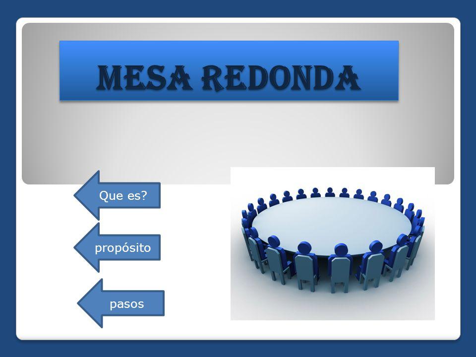 Mesa redonda que es prop sito pasos ppt descargar - Que es mesa redonda ...