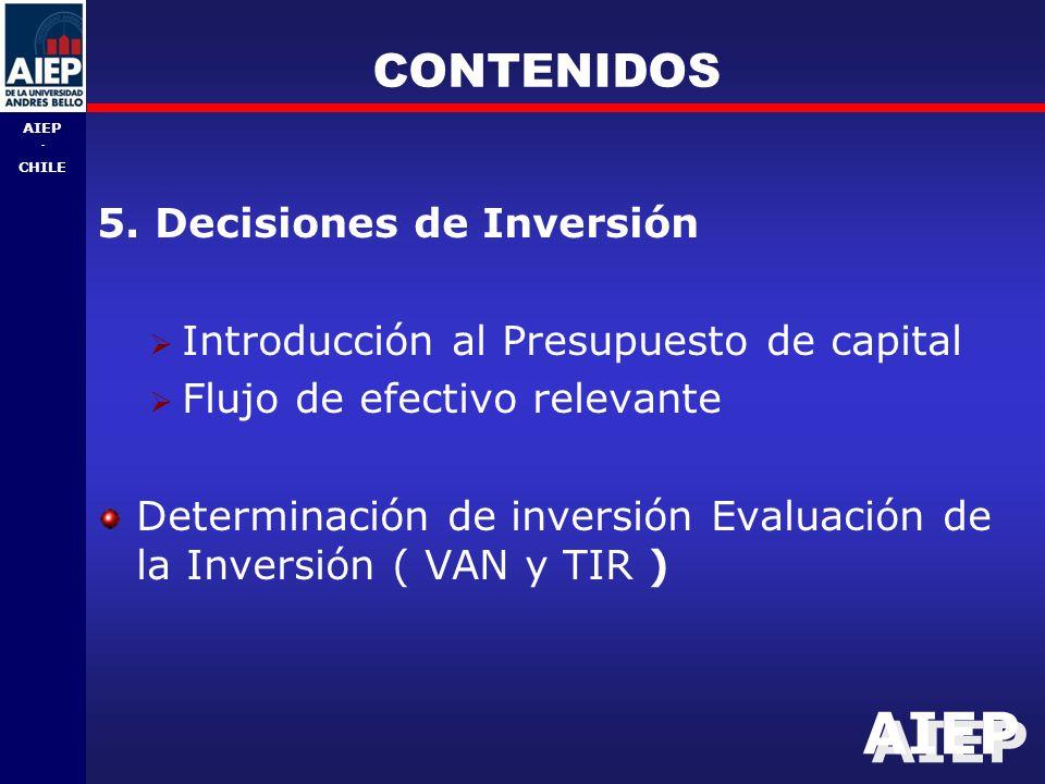 CONTENIDOS 5. Decisiones de Inversión