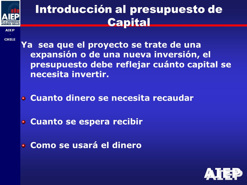 Introducción al presupuesto de Capital