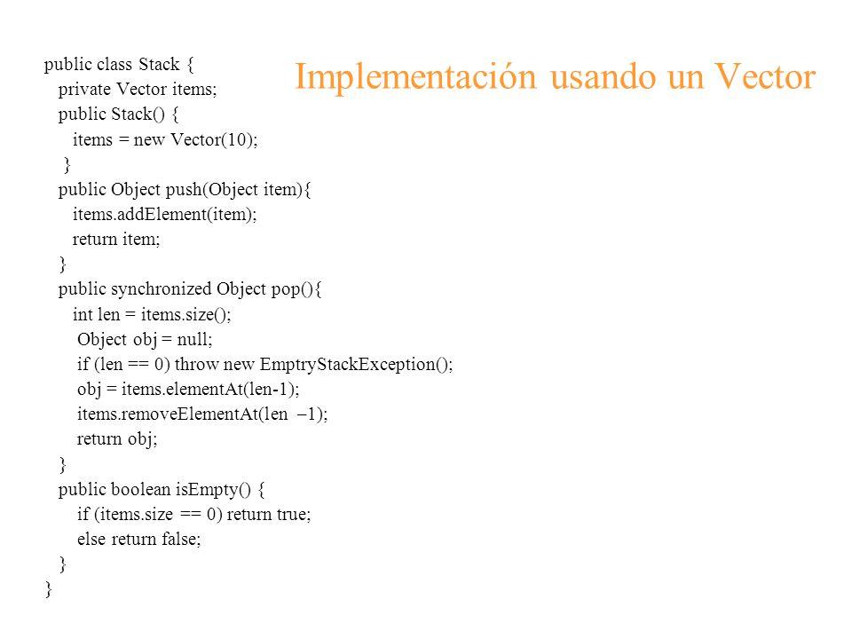 Implementación usando un Vector