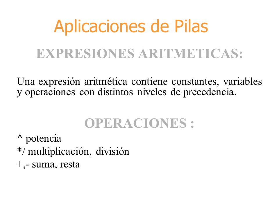 EXPRESIONES ARITMETICAS: