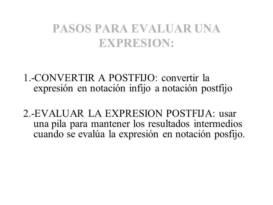 PASOS PARA EVALUAR UNA EXPRESION: