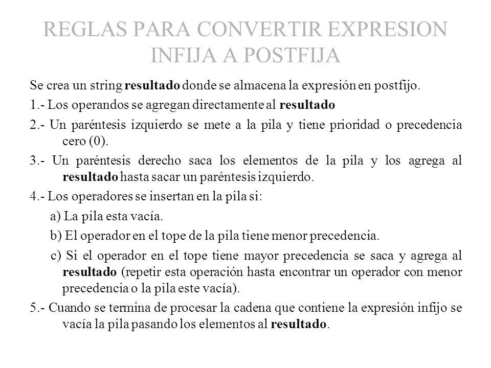 REGLAS PARA CONVERTIR EXPRESION INFIJA A POSTFIJA