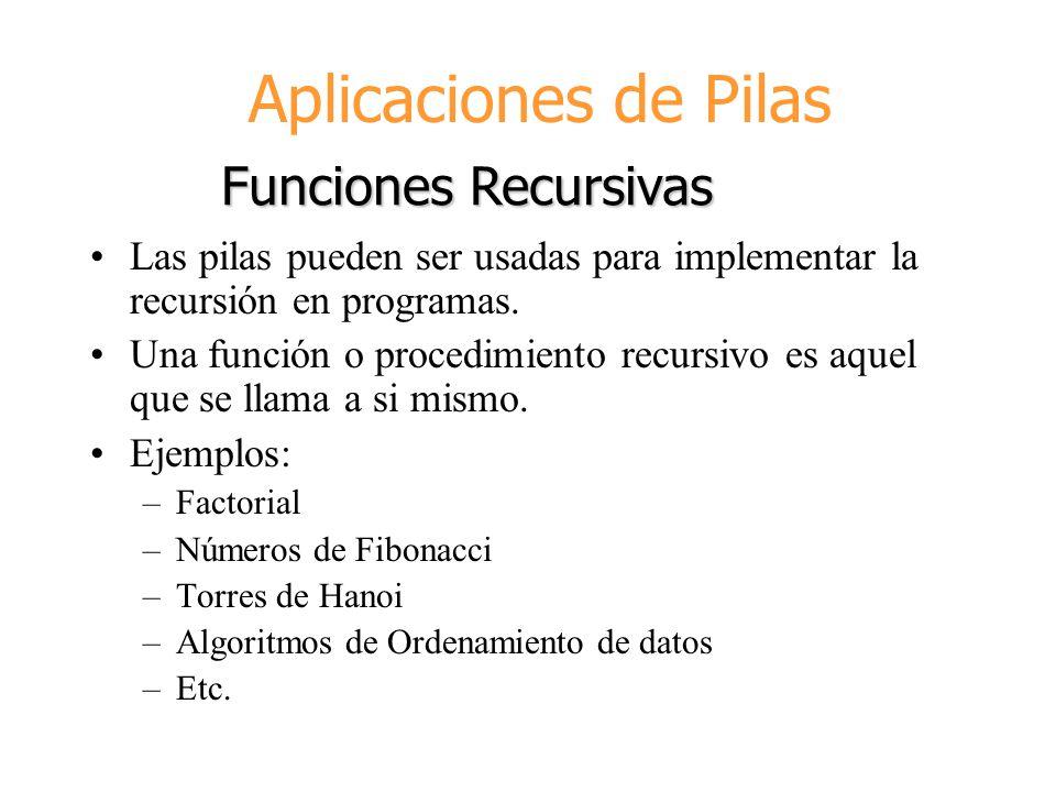 Aplicaciones de Pilas Funciones Recursivas