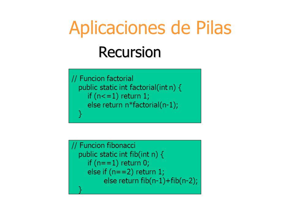 Aplicaciones de Pilas Recursion // Funcion factorial