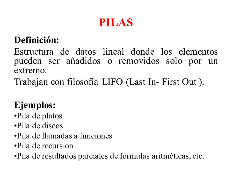 PILAS Definición: Estructura de datos lineal donde los elementos pueden ser añadidos o removidos solo por un extremo.