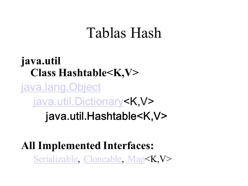 Tablas Hash java.util Class Hashtable<K,V> java.lang.Object