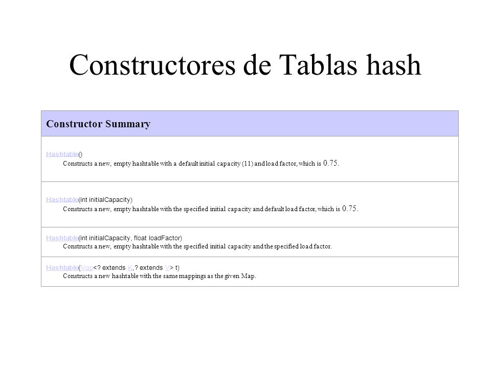 Constructores de Tablas hash