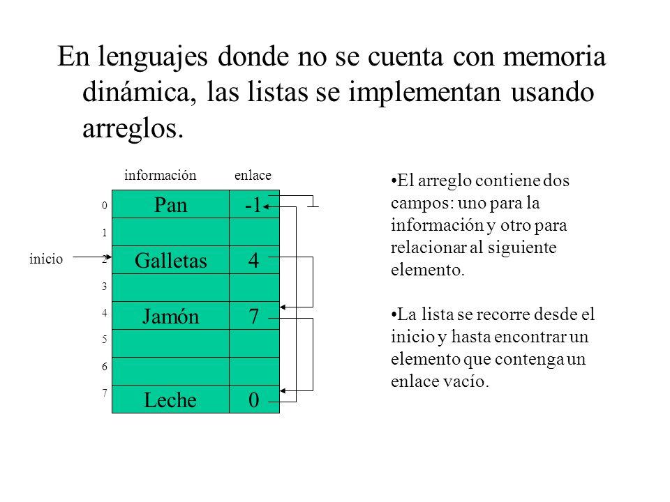 En lenguajes donde no se cuenta con memoria dinámica, las listas se implementan usando arreglos.